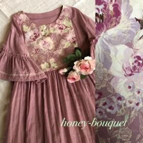 送料無料♪薔薇柄フリル袖ピンクのギャザーワンピース