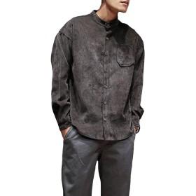 MengFan メンズ カジュアルシャツ コーデュロイ 長袖 ボタンダウン 春着 無地 通勤ビジネス シンプル トップス ゆったり ハンサム ファッション シャツ ワイシャツ 大きいサイズコーヒーH