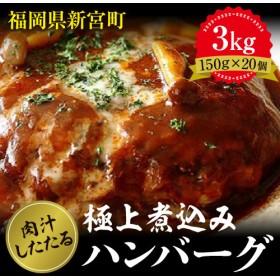A375.どーんと3kg!肉汁したたる極上煮込みハンバーグ【150g×20個】