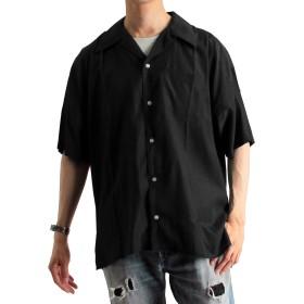 (ラフタス) Rafftas 半袖 レーヨン オープンカラーシャツ メンズ 半袖シャツ 開襟シャツ 大きい Lサイズ ブラック