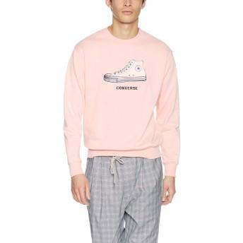 [ウィゴー] WEGO [別注] コンバース サガラ ワンポイント 刺繍 プルオーバー スウェット トレーナー L ピンク メンズ