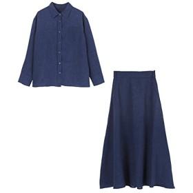 (ユアーズ) ur's リネンライクシャツ×スカートセットアップ BRXU0410 L ネイビー