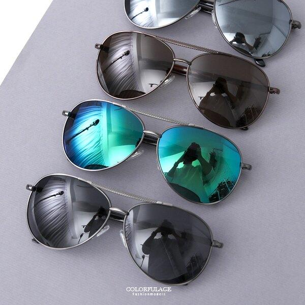 偏光墨鏡 造型眉框反光鏡片偏光眼鏡 柒彩年代【NY410】