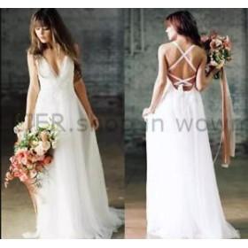 ウェディングドレス/パーティドレス 2018 ボヘミアンウェディングドレスシフォンレースのスパゲッティストラップビーチの花嫁衣裳