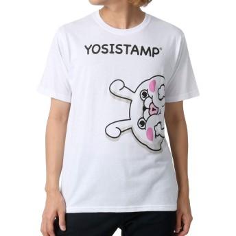 [ヨッシースタンプ] Tシャツ プリント 半袖 メンズ 柄3:(ボディ:ホワイト/プリント:顔) M:(身丈67cm 肩幅43cm 身幅48cm 袖丈23cm)