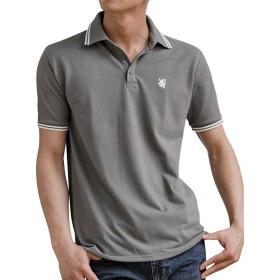 (アドミックス アトリエサブメン) ADMIX ATELIER SAB MEN メンズ サマー 鹿の子 ワンポイント 刺繍 半袖 ポロシャツ 02-62-9751 46(S) グレー