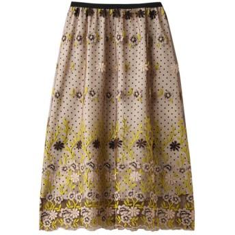 allureville アルアバイル 【Loulou Willoughby】フラワーチュールドットギャザースカート ベージュ