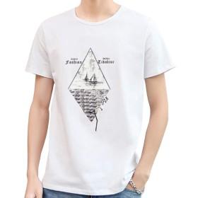 EASTEMPO tシャツ メンズ 半袖 綿 ゆったり 夏 薄手 プリント おおきいサイズ (ホワイト, XXL)