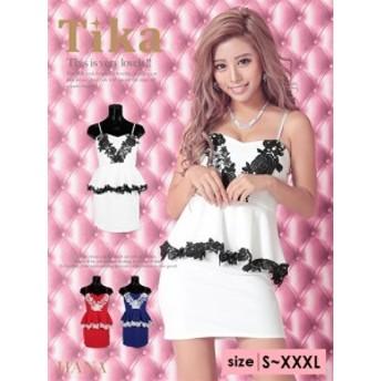 【Tika ティカ】フラワーレースペプラムタイトミニドレス[S/M/L][青/赤/白]