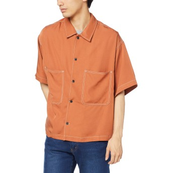 [ウィゴー] WEGO カラーステッチ ビッグ シルエット シャツ 5分袖 L ダーク オレンジ メンズ
