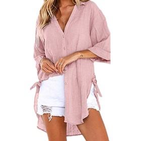 女性ブラウスカジュアルVネック不規則ヘムボタンダウン3 / 4スリーブシャツ Pink XL