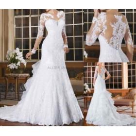 ウェディングドレス/パーティドレス NEW ホワイトアイボリーのウェディングドレス マーメイド 長袖レース 花嫁衣装