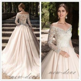 ウェディングドレス/パーティドレス ヴィンテージレースのウェディングドレス長袖オフショルダー Vネックの花嫁衣装