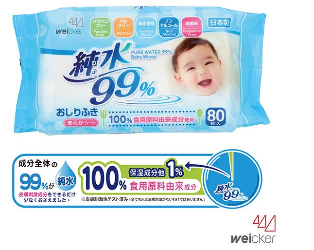 【淘氣寶寶●箱購加贈專用便利貼盒蓋】日本製純水99%日本製濕紙巾【80張(1包)*3包*16串】