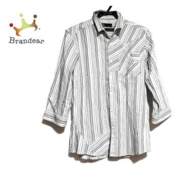 トルネードマート 七分袖シャツ サイズM メンズ 美品 黒×白×グレー ハイカラ—/ストライプ 新着 20190716