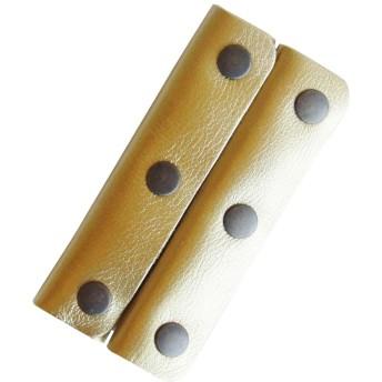 かごバッグ、トートバッグ、ビジネスバッグ用の本革ハンドルカバー ワイド3つボタンタイプ 2枚1組 (ゴールド)