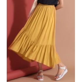 【any SiS:スカート】【洗える】レーヨンリネンイレヘム スカート