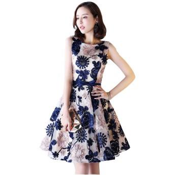 ドレス Li Qingレディース お姫様パーティードレス結婚式お呼ばれ合コンデート二次会 ミニワンピース (L, ネイビー)