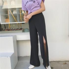 見なきゃ損する!INS熱い販売 ワイルド パンツ スリット 体型カバー 無地 シンプル カジュアル