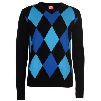 Slazenger メンズアーガイル Vネック セーター ブラック/ブルー L