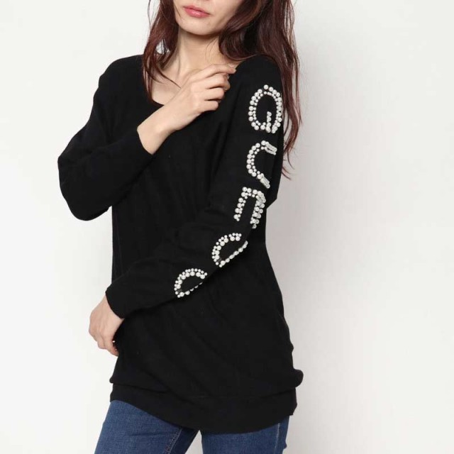 トレーナー - GUESS【WOMEN】 [GUESS] PEARL LOGO SLEEVE CLOVER SWEATER