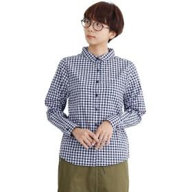 (メルロー) merlot ギンガムチェック柄コットンシャツ ネイビー