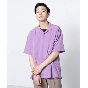 [センスオブプレイス] ワイシャツ モダールオープンカラーシャツ(5分袖) メンズ PURPLE L
