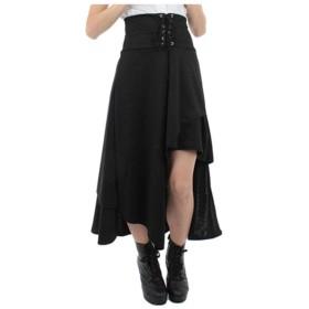GETS(ゲッツ) ゴスロリ スカート コルセット アシンメトリー イレギュラーへム パンク V系スカート 系帯のマキシ 変形 無地 黒 ファッション レディース (S)