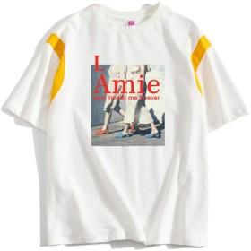 レディース Tシャツ シンプル半袖 面白シャツ 薄着 衣装 無地 カジュアル ホワイト (style-06, M)