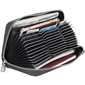 RECOO 大容量カードケース 長財布 カード入れ 名刺入れ パスポートケース じゃばら 36枚収納 多機能パスポートカード キャッシュカード スマホ収納可 携帯便利 男女兼用 (ブランク)