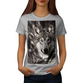 Wellcoda 寂しい 狼 面 婦人向け グレー XL Tシャツ