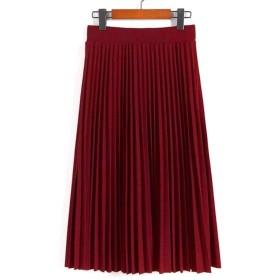 【ノーブランド】おしゃれレディースミモレ丈プリーツスカートロングスカート (レッド)