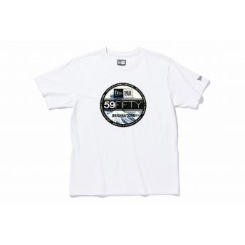 【ニューエラ公式】 ストア限定 コットン Tシャツ バイザーステッカー 浮世絵 葛飾北斎 神奈川沖浪裏 ホワイト メンズ レディース Medium 半袖 Tシャツ 11601148 NEW ERA