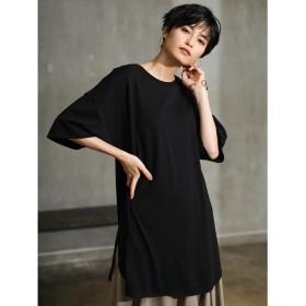 【オンワード】 koe(コエ) 裾ラウンドチュニックTシャツ Black F レディース 【送料無料】