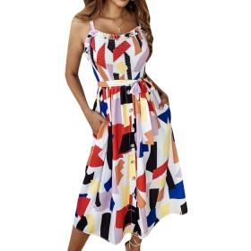 Macondoo 女性サマーcamisノースリーブプリントチェック柄ドレス White L