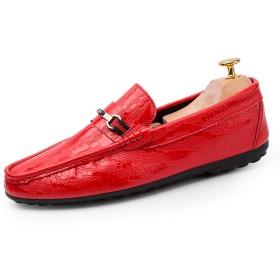 [dhiuebc] ローファー メンズ 革靴 スリッポン モカシン ビジネスシューズ ビットローファー ドライビングシューズ 紳士靴 ウォーキングシューズ デッキシューズ レザー 26.5cm シューズ 通勤 通気性 歩きやすい ブラック 黒 ホワイト 白 赤 学生靴 軽量