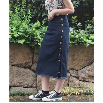 INTERPLANET 綿ツイルタイトスカート(ネイビー)【返品不可商品】