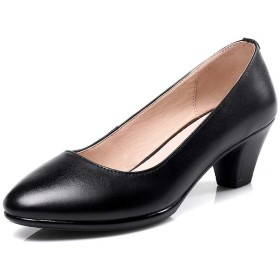 [HR株式会社] レディース パンプス オフィスシューズ ビジネスシューズ ローヒール 太めヒール 婦人靴 定番 通勤 防滑 通気 大きいサイズ22.5cm-26.0cm 黒色26センチ