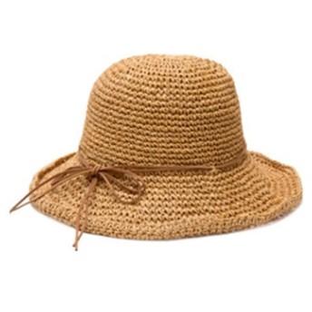 Primavera 麦わら帽子 ストローハット レディース 折りたたみ 帽子 紫外線対策 UVカット (キャメル)