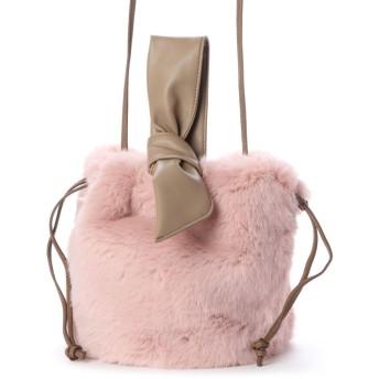 カカトゥ kakatoo エコファードロストリボンハンドルショルダーバッグ (ピンク)