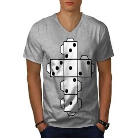 Wellcoda サイコロ ゲーム 紙 カジノ 男性用 グレー L リンガーTシャツ