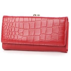 ジーラ GeeRA 牛床革クロコ型押しがま口長財布 (赤)