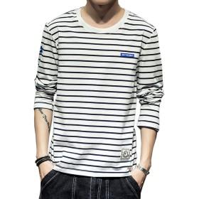 Tシャツ 長袖 メンズ ストライプ カットソー ファッション カジュアル ストライプTシャツ 柔らかい 細身 タイト Tシャツ 快適 春夏秋 白3XL