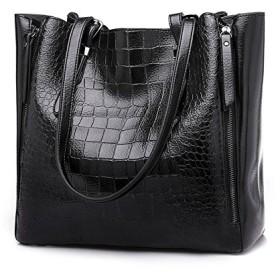 新しい 女性 ハンドバッグ ファッション シングル ショルダーバッグ 多機能 ワニパターン バッグ (Color : Black, Size : M)