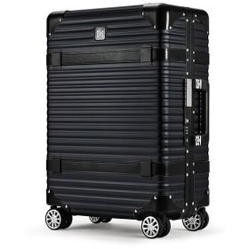 カバンのセレクション ランツォ スーツケース LANZZO VIKING 47L Mサイズ バイキング アルミフレーム アルミボディ 革ベルト ユニセックス ブラック フリー 【Bag & Luggage SELECTION】