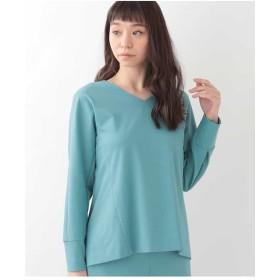 GEORGES RECH 【洗える】ポンチジャージーバックボタンカットソー Tシャツ・カットソー,ライトブルー