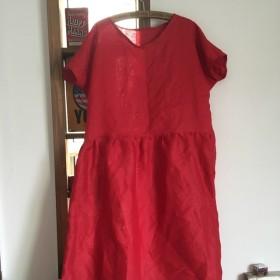 赤リネン 着丈約110ハンドメイド ワンピース
