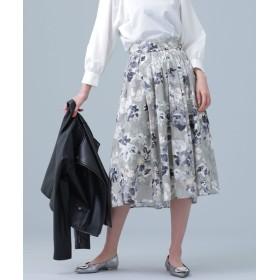 nano・universe ナノ・ユニバース カットジャカードプリントスカート