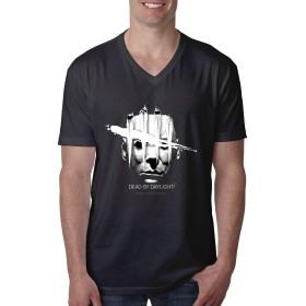 Dead By Daylight Logos Tシャツ メンズ 半袖 綿 Tシャツ Vネック 吸汗速乾 カットソー シンプル ゆったり 無地 オシャレ