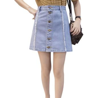 [もうほうきょう] デニムスカート レディース 夏 aラインスカート ハイウエスト ゆったり ショートスカート (ライトブルー, M)